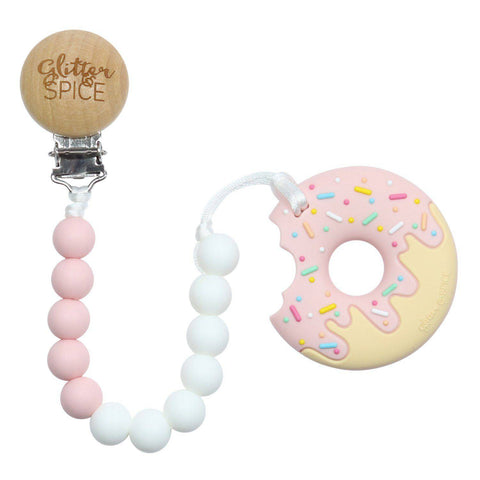 Donut Silicone Teether with Pacifier Clip - Strawberry Cream