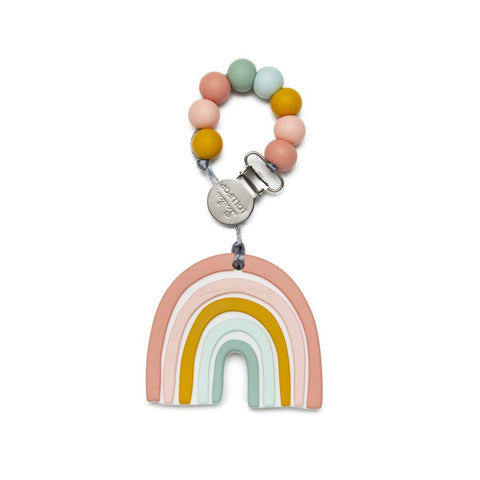 Silicone Teether with Metal Clip - Pastel Rainbow