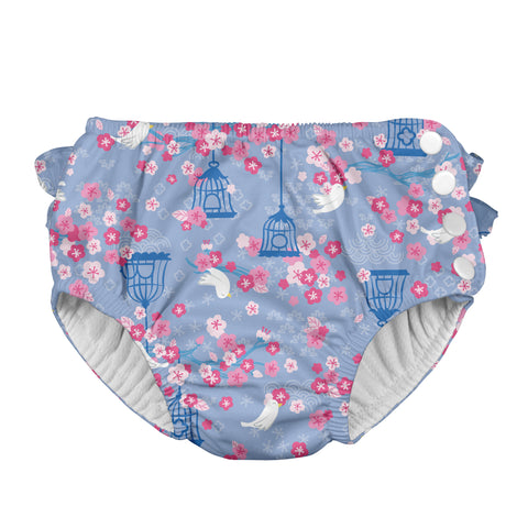 Snap Reusable Absorbent Swimsuit Diaper - Light Blue Songbird