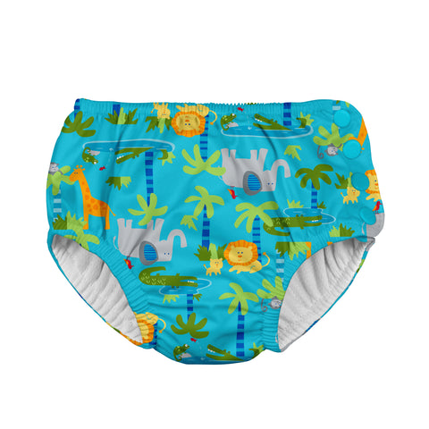 Snap Reusable Absorbent Swimsuit Diaper - Aqua Jungle