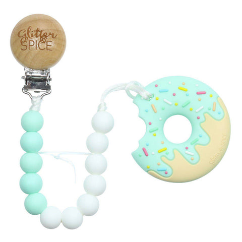 Donut Silicone Teether with Pacifier Clip - Tutti Frutti