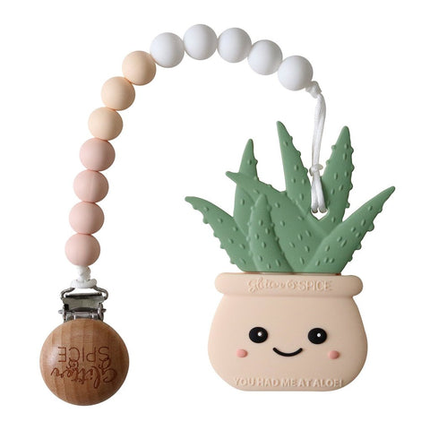 Aloe Plant Silicone Teether with Pacifier Clip - Cream Peach