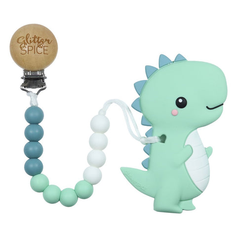 T-Rex Dino Silicone Teether with Pacifier Clip