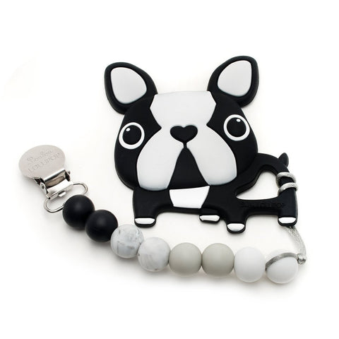 Silicone Teether with Metal Clip - Boston Terrier