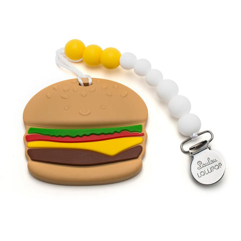 Silicone Teether with Metal Clip - Burger