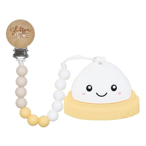 Dim Sum Bao Silicone Teether with Pacifier Clip