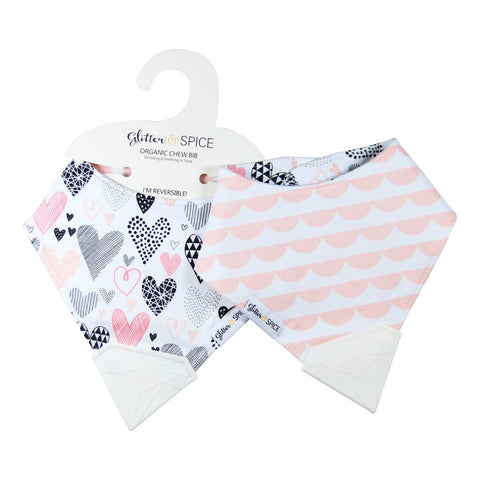 Double Sided Organic Chew Bib - Geo Hearts / Scallop Trim