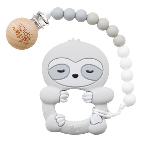 Sloth Silicone Teether with Pacifier Clip