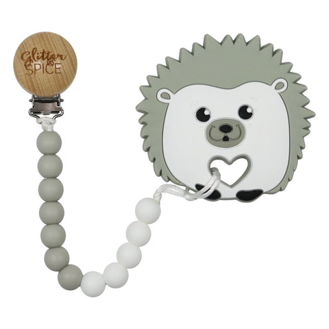 Hedgehog Silicone Teether with Pacifier Clip