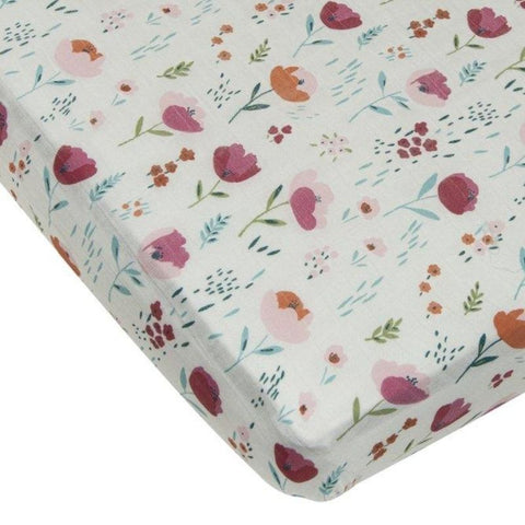 Muslin Fitted Cot Sheet - Rosey Bloom