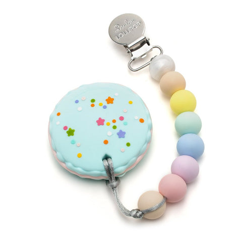 Silicone Teether with Metal Clip - Macaron | Cotton Candy