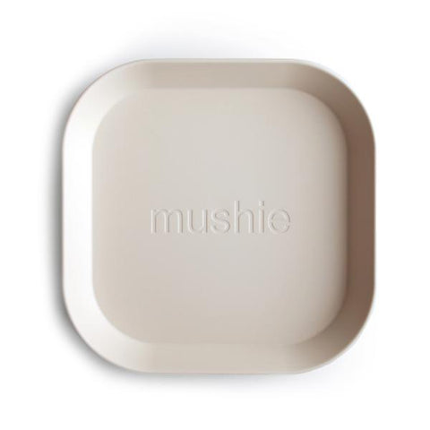 Mushie Square Plates, Set of 2 (Ivory)