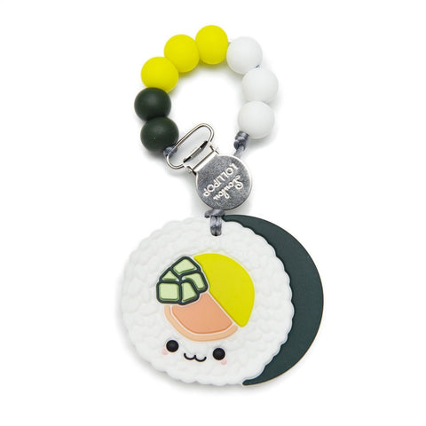 Silicone Teether with Metal Clip - Sushi Roll
