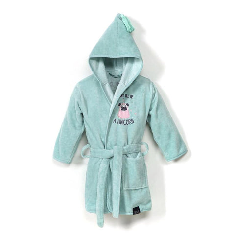 Bathrobe Bamboo Soft - Medium - Doggy Unicorn | Mint