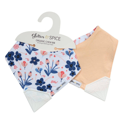 Double Sided Organic Chew Bib - Wildflower / Mango