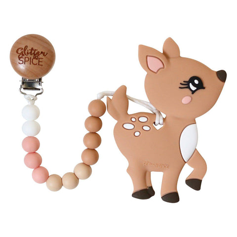 Deer Silicone Teether with Pacifier Clip