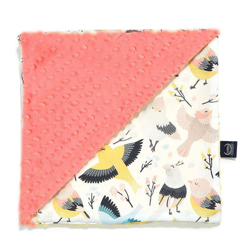 Light Toddler Blanket - Large - Cute Birds | Coral