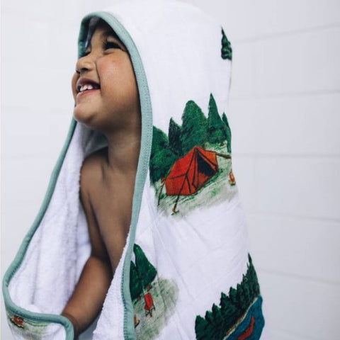 Little Unicorn Big Kid Hooded Towel - Happy Camper