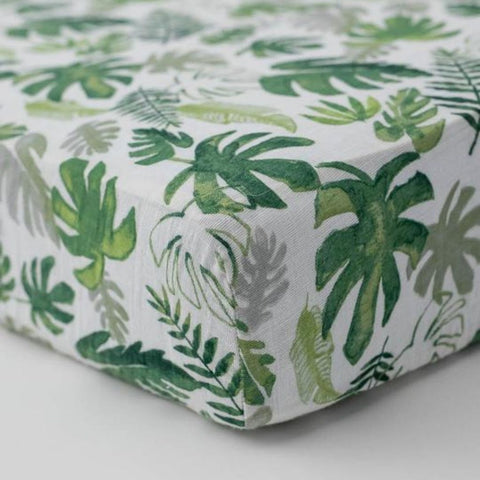 Little Unicorn Cotton Muslin Fitted Cot Sheet - Tropical Leaf