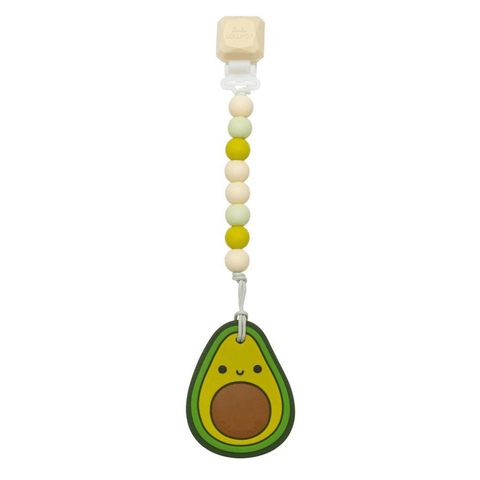 Silicone Teether with Gem Clip - Avocado