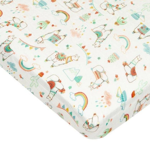 Muslin Fitted Cot Sheet - Llama Rainbow