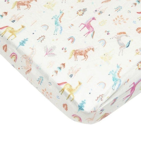 Muslin Fitted Cot Sheet - Unicorn Dream