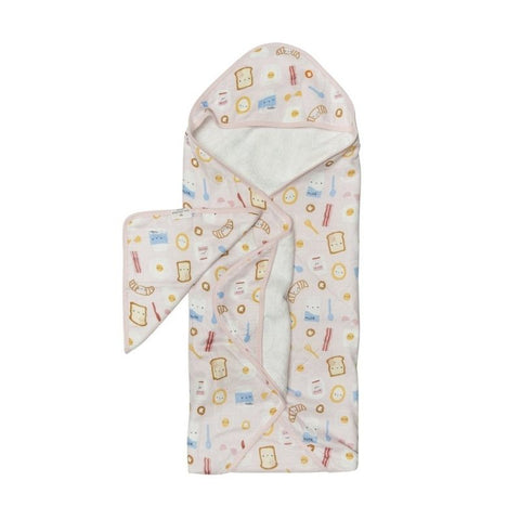 Muslin Hooded Baby Towel Set - Breakfast Pink
