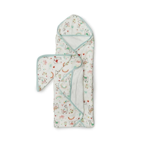 Muslin Hooded Baby Towel Set - Llama