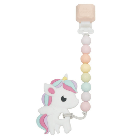 Silicone Teether with Gem Clip - Rainbow Unicorn