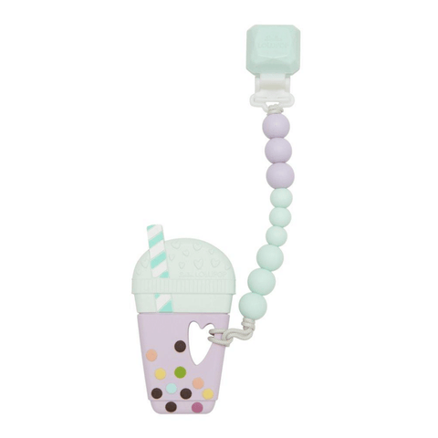 Silicone Teether with Gem Clip - Taro Bubble Tea | Lilac Mint