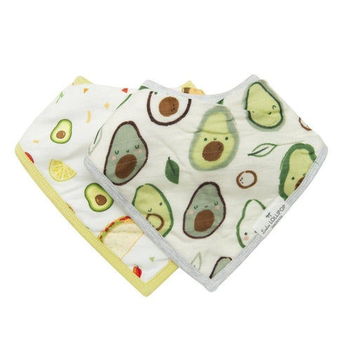 Muslin Bandana Drool Bib Set - Avocado
