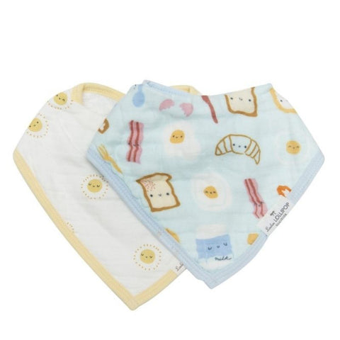 Muslin Bandana Drool Bib Set - Breakfast Blue