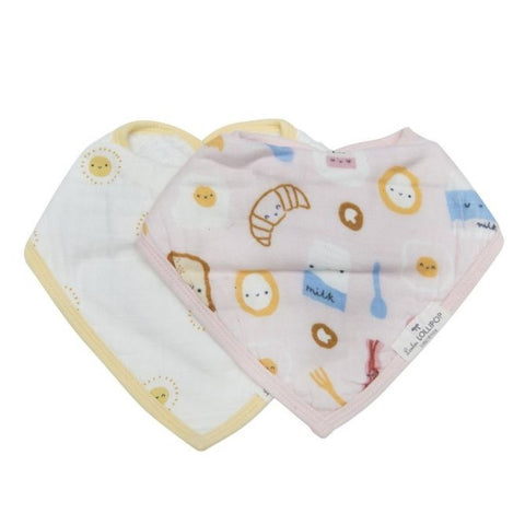 Muslin Bandana Drool Bib Set - Breakfast Pink