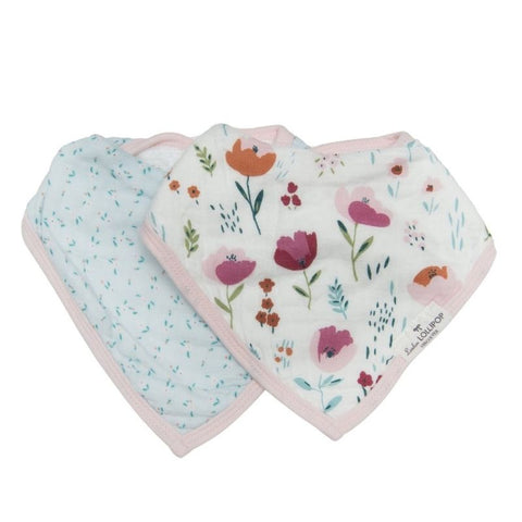 Muslin Bandana Drool Bib Set - Rosey Bloom