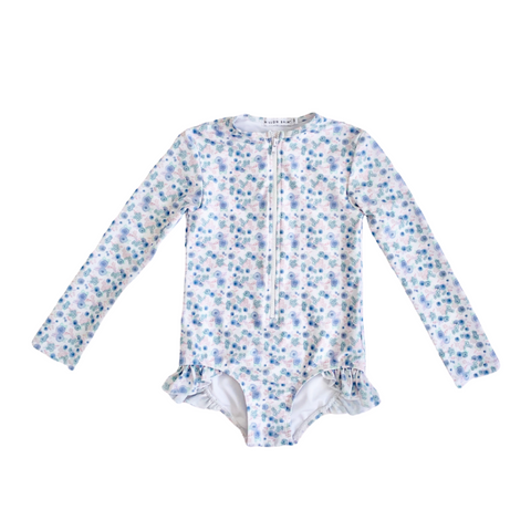Sophia Long Sleeve Rash Guard One Piece Swimsuit - Ditsy Floral