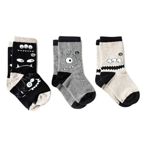Organic Baby, Kids, Toddler Socks - Monochrome Monsters