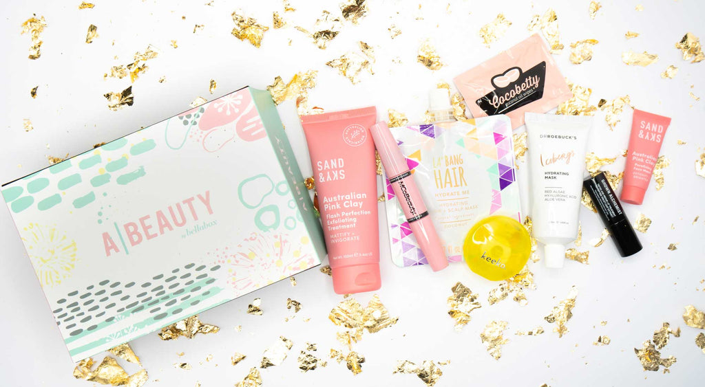 A-beauty box by bellabox showing all Australian beauty products including Sand&Sky, Dr Roebucks, Keeko, Cocobetty, La Bang Hair, Grown Alchemist and MCoBeauty.