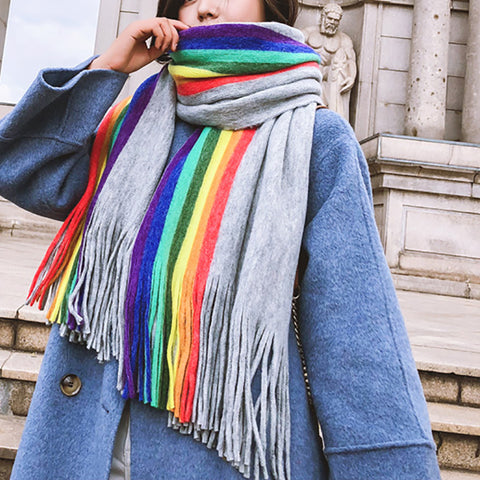 Rainbow double-faced cashmere scarf