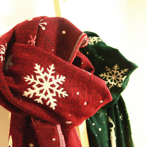 Couple Snowflake Printed Christmas Warm Scarf