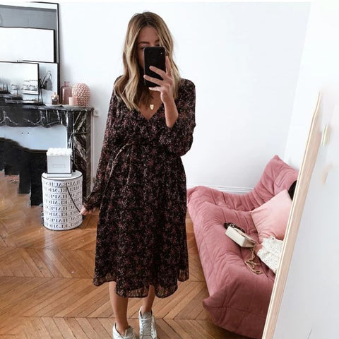 Sexy V-neck printed long sleeve dress