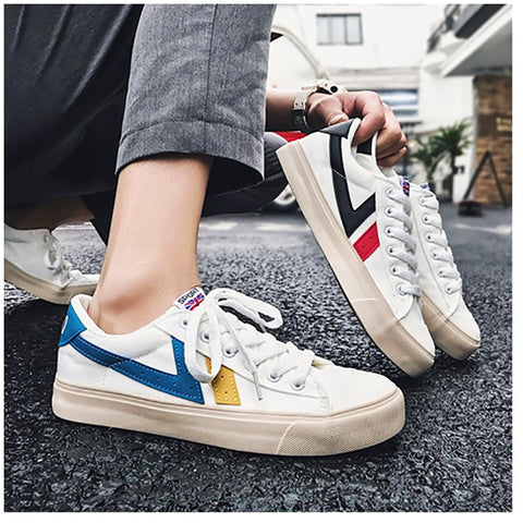 Women's casual colorblock striped sneakers