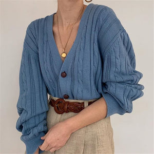 Casual women's V-neck solid color knit cardigan DWQ08