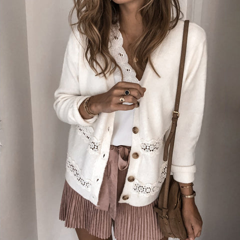 Lace stitching button knit cardigan