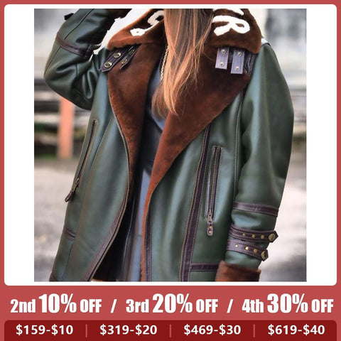 Fashion Letter Printed Lapel Zipper Leather Jacket