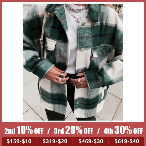 Women's Fashion Check Lapel Coat