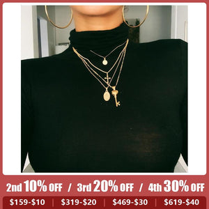 Women Fashion Multilayer Cross Key People Avatar Pendant Necklace