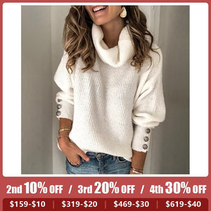 Casual Pure Colour High Collar Sweater