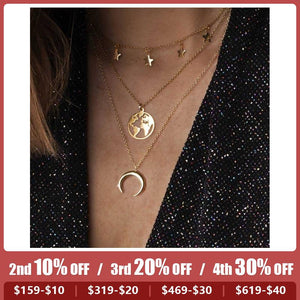 World Map Moon Crescent Alloy Pendant Multi-Layer Combination Necklace
