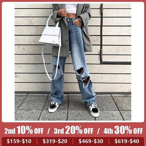 Casual Personality Hole Denim Straight Pants