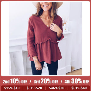 Casual V Neck Pure Colour Splicing Blouse